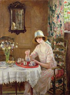 """I always have my afternoon tea. """"Afternoon Tea"""" by William Henry Margetson This is one of the most beautiful paintings ever! Why can't I paint like that? Illustrations, Illustration Art, Vintage Tea, Beautiful Paintings, Afternoon Tea, Oeuvre D'art, Female Art, Painting & Drawing, Time Painting"""