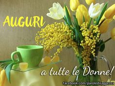 Greens and yellows--so lovely together. Good Morning Good Night, Ladies Day, Still Life, Beautiful Flowers, Eye Candy, Tea Cups, Vase, Plants, Avril