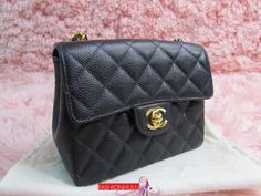 Auth Vintage CHANEL Navy Blue Caviar 2.55 Square Mini Flap Bag Gold HW
