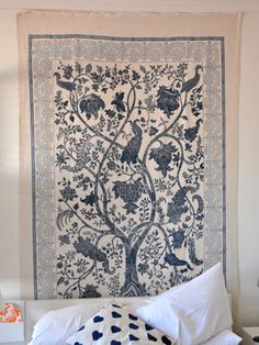 Tree of Life wall hanging from Les Indiennes. Hand-blocked textiles and home furnishings produced by Indian artisans.