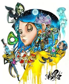 Neat idea color tat Tim B Coraline Jones, Coraline Doll, Coraline Drawing, Coraline Tattoo, Art Sketches, Art Drawings, Coraline Aesthetic, Character Art, Character Design