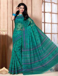 Dark Green Cotton Stylish Printed Saree