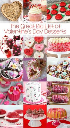 The Great Big List of Valentine's Day Desserts – a sweet collection of 100+ Valentine's Day Desserts you can bake for your sweetheart! #reciperoundups #sweetcollection #valentinesday #valentinesdaydesserts #desserts #heartdesserts #valentinesdesserts #redpinkandwhitedesserts