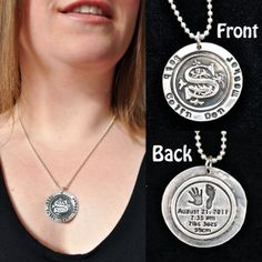 Hand and foot print on a sterling silver necklace mom necklace