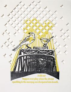 """""""breathless"""", letterpress printed two color linocut & hand set type, paper cutout. Created by Blackbird Letterpress"""