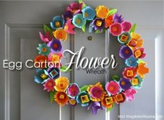 egg carton or crate flower wreath spring or Easter. Wreath Crafts, Flower Crafts, Wreath Ideas, Egg Crate Flowers, Spring Crafts, Holiday Crafts, Toddler Crafts, Crafts For Kids, Egg Box Craft