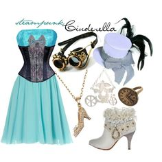 Steampunk Cinderella by princesschandler on Polyvore featuring moda, Jane Norman, PacificPlex, N2 By Les Nereides, Disney Couture and pd