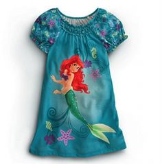 Disney Princess Ariel Little Mermaid Nightshirt Nightgown Pajama 2 3 4 5 6 7 8 10 $24.  Like our fanpage at www.facebook.com/lovebabyclothes