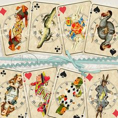 Alice in Wonderland Playing Card Gift Tags Printable by magisplace, $4.00