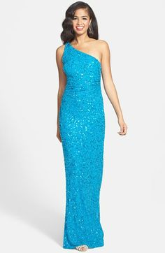 Adrianna Papell One-Shoulder Beaded Gown available at #Nordstrom