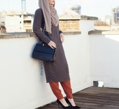 INAYAH | Long Ash #Jumper + Tan Knitted Tapered #Trousers + Mink Maxi Georgette…