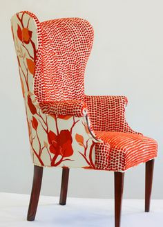the Maker: Andrea Mihalik of Wild Chairy This chair is awesome in so many ways. Wingback chair in orange by Wild Chairy.This chair is awesome in so many ways. Wingback chair in orange by Wild Chairy. Funky Furniture, Upholstered Furniture, Home Furniture, Furniture Design, Recycling Furniture, Tufted Headboards, Coaster Furniture, Office Furniture, Furniture Ideas