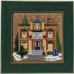 Post Office, Christmas Village, counted cross-stitch and beading