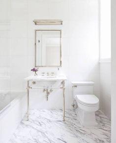 Marble Floor Bathroom with Silver Sink
