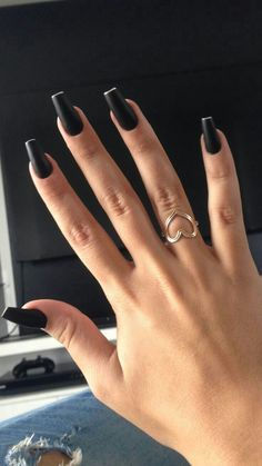 Pin on Unghii Pin on Unghii Black Acrylic Nails, Best Acrylic Nails, Black Coffin Nails, Perfect Nails, Gorgeous Nails, Cute Nails, Pretty Nails, Hair And Nails, My Nails