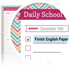 Daily School Agenda Checklist - Download here: https://www.alejandra.tv/shop/printable-home-organizing-checklists/?utm_source=Pinterest&utm_medium=Pin&utm_content=Checklistk&utm_campaign=Pin  Let your kids use this 'student friendly' agenda to write down their homework, reminders, due dates, and activities!