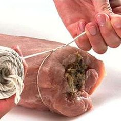 Learn how to tie a stuffed pork roast securely so the stuffing mixture doesn't fall out.