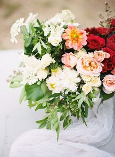 Pink and red florals | Photo by Jen Wojcik Photography | Read more  - http://www.100layercake.com/blog/?p=78271 #wedding #bouquets #pink # red #rose