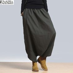ZANZEA Fashion Womens Solid Harem Pant Elastic High Waist Loose Cross-pants Bloomers Capris Baggy Long Trousers Plus 2018 Wide Pants, Loose Pants, Gray Pants, Loose Fit, Pantalon Long, Baggy, Pants For Women, Clothes For Women, Trousers Women