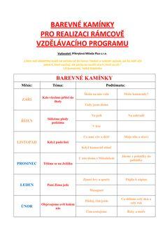 Celoroční plán Barevné kamínky pro realizaci RVP (PDF) Classroom Management, Activities, How To Plan, Education, School, Kids, Program, Softshell, Literatura