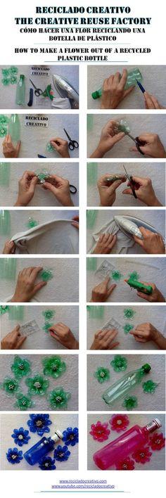 Recycled plastic bottle flower tutorial: