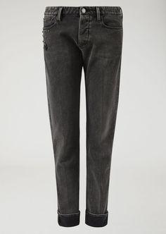Emporio Armani Denim Jeans With Decorative Studs - Black 38 Ripped Jeans Men, Denim Skinny Jeans, Slim Jeans, Black Jeans, Armani Men, Emporio Armani, Armani Logo, Best Jeans, Jeans Brands