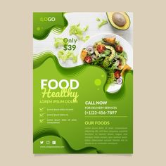 Healthy food restaurant flyer template d. Food Graphic Design, Food Poster Design, Menu Design, Food Design, Banner Design, Design Layouts, Design Posters, Brochure Design, Design Design