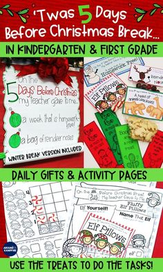 Christmas Countdown Activities for Kindergarten and First Grade. Delight your Kindergarten and first graders with this roll down anchor chart and simple daily gifts. Students use the treats to do the tasks! Keep everybody engaged and still learning the last week before Christmas or winter break! #kindergarten #firstgrade #christmascountdown #christmasactivities