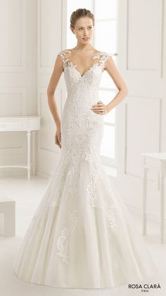 ROSA CLARA TWO #bridal spring 2016 cap sleeves illusion boat sweetheart neckline embellished bodice elegant trumpet lace #wedding dress lace back sweep train (eysa) mv  #weddingdress #weddinggown #engaged #lace #romantic