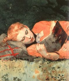 """The New Novel (detail, 1877), Winslow Homer (1836-1910). Exhibition at the American Watercolor Society. American landscape painter and printmaker, best known for his marine subjects. He is considered one of the foremost painters in 19th century America. Women at leisure and children at play or simply preoccupied by their own concerns were regular subjects for Homer in the 1870s. """"I prefer every time a picture composed and painted outdoors. The thing is done without your knowing it."""" (Homer)"""