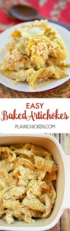 Easy Baked Artichokes - Plain Chicken - SO good and SOOO easy!!! All the flavors of stuffed artichokes without all the work. Canned artichokes, olive oil, garlic, bread crumbs and parmesan cheese. Only takes a minute to make! Great with steak, chicken pork and even pasta! LOVE quick and easy side dish recipes!
