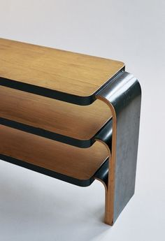 close up of Alvar Aalto shelf 111 - ebonised edges #alvaraalto