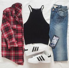 Red flannel, black crop top, blue jeans, adidas superstars