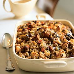 Holiday Sides | Sourdough Stuffing with Pears and Sausage | CookingLight.com