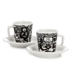 Cafe 1902 -espressokupit, 2 kpl, musta-valkoinen
