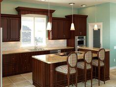 Kitchens .com - Kitchen Design Boards - Subtly Modern Kitchen - Cherry Wood Cabinets, Tile Backsplash