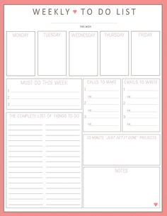 BEST TO DO LIST EVER!! Weekly To Do List 1sheet PRINTable by lizzieloucreations on Etsy, $2.50