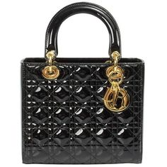 Preowned Lady Dior Patent Leather Bag Black W/ Gold Hardware ($2,999) ❤ liked on Polyvore featuring bags, handbags, black, top handle bags, zipper purse, purse pouch, christian dior purses and zip pouch