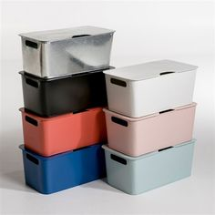 Arreglo Stackable Metal Storage Box AM.PM New range with rounded corners for a look that combines retro and modern. Scandinavian style with simple lines and soft colours! Galvanised metal or.