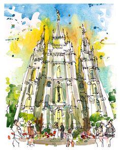 Salt Lake City, Salt Lake Temple, LDS Temple, Utah - archival fine art print from an original watercolor sketch by SketchAway on Etsy