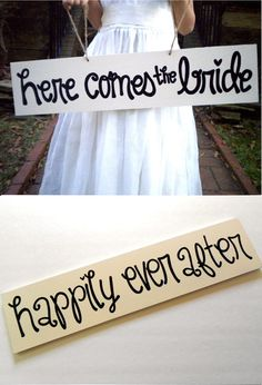 Double sided Here Come the Bride Sign / by yourethatgirldesigns