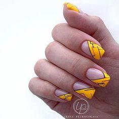Matte Nails, Diy Nails, New Nail Colors, Yellow Nail Art, Nail Art Pictures, Geometric Nail, Best Nail Art Designs, Cool Nail Art, Nail Inspo