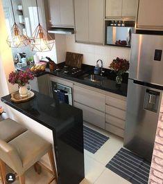 Kitchen Room Design, Home Room Design, Kitchen Cabinet Design, Modern Kitchen Design, Home Decor Kitchen, Interior Design Kitchen, Small Apartment Interior, Small Apartment Kitchen, Apartment Layout