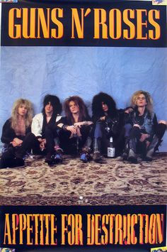 80s Posters, Vintage Concert Posters, Vintage Posters, Wall Posters, Guns N Roses, Pop Rock, Rock N Roll, Rock Band Posters, Music Collage