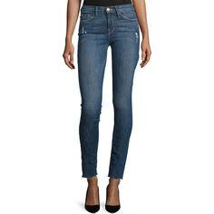 FRAME DENIM Le Skinny De Jeanne Jeans ($230) ❤ liked on Polyvore featuring jeans, blue, blue jeans, destroyed skinny jeans, distressed jeans, frayed-hem jeans and skinny fit jeans