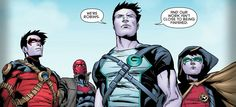 Dick Grayson(Grayson), Jason Todd(Red Hood), Tim Drake(Red Robin), Damian Wayne(Robin)
