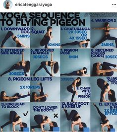 Yoga sequence to flying pigeon