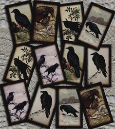 pRiMiTiVe Crow RaVeN Vintage Art Hang/Gift Tag -Printable Collage Sheet JPG Digital Download File-Buy ONe Get ONe FREE