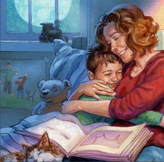 I'm all about encouraging kids to read. But every now and then, especially after your kids can read, it's just fun to sit with them and read to them. As an author, I simply love that image.