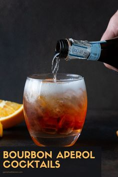 Love Aperol? Go beyond the Spritz with these vibrant Bourbon Aperol Cocktails. A splash of Prosecco keeps these drinks light and refreshing. Good Whiskey Drinks, Whiskey Cocktails, Wine Drinks, Cocktail Drinks, Aperol Drinks, Prosecco Cocktails, Fall Cocktails, Batch Cocktail Recipe, Cocktail Recipes